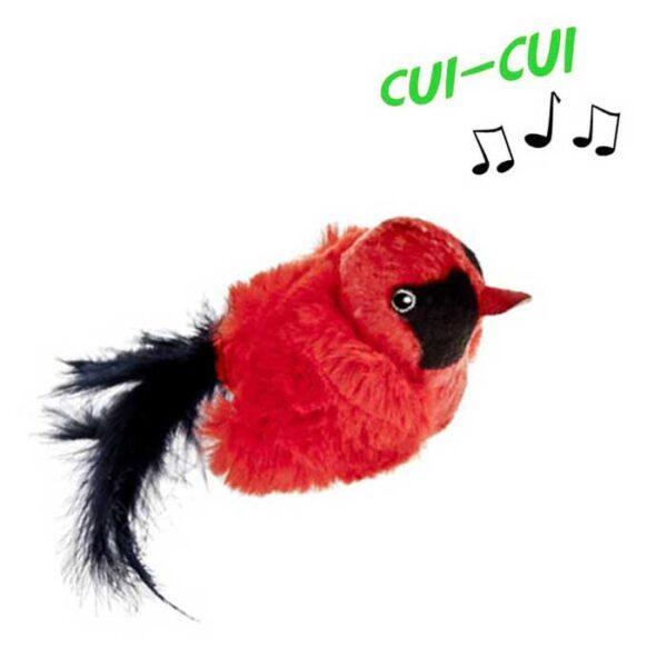 Jouet pour chat oiseau cui-cui rouge et noir